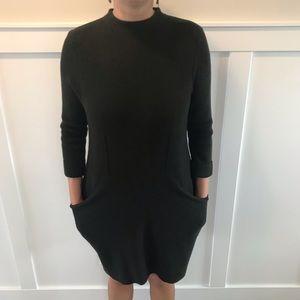 Anthropologie Sparrow Green Wool pocket dress